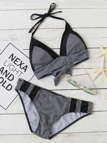 Black Striped Halter Bikini Set With Bow Tie