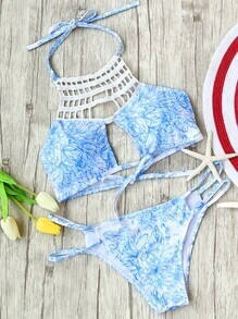 Blue Floral Print Hollow Out Bikini Set