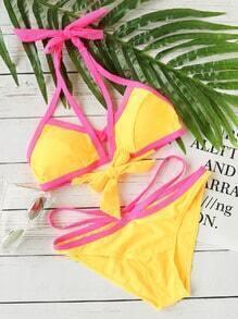 Yellow Contrast Trim Cutout Bikini Set