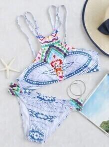 Sets de bikini con estampado étnico con tiras