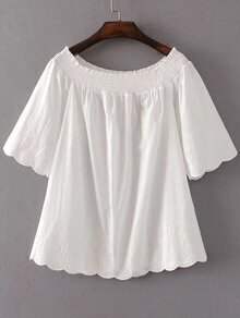 White Embroidery Scalloped Trim Off The Shoulder Blouse