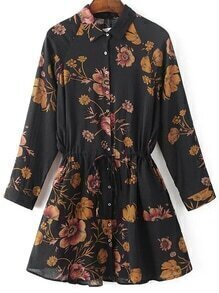 Black Floral Print Drawstring Waist Shirt Dress