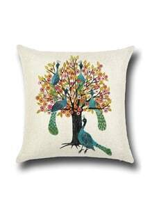 Apricot Peacocks And Trees Print Pillowcase Cover