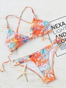 Orange Floral Print Cross Back Bikini Set