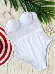 White Spaghetti Strap One-Piece Swimwear
