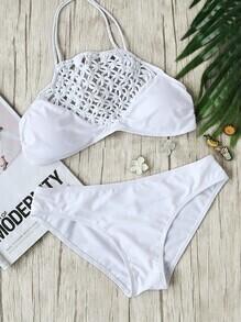 Sets de bikini halter con detalle de croché - blanco