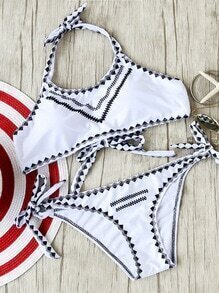 White Printed Side Tie Bikini Set
