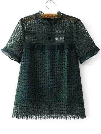 Dark Green Crochet Design Hollow Out Haut de la page