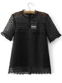 Black Crochet Design Hollow Out Top