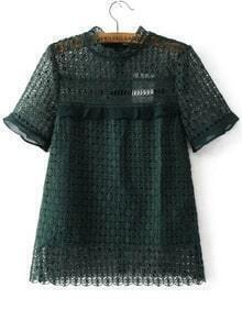 Dark Green Crochet Design Hollow Out Top