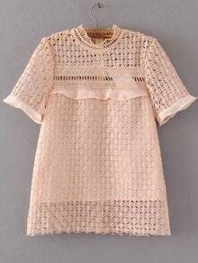 Light Pink Crochet Design Hollow Out Top