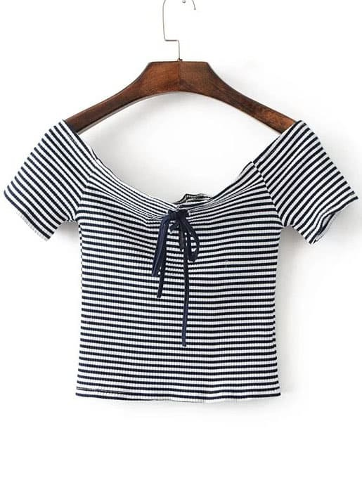 Striped Off The Shoulder Lace Up Crop Top tee170110201