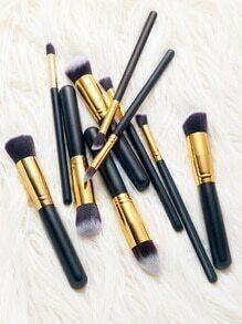 10pcs noir cosmétique Makeup brosse Set
