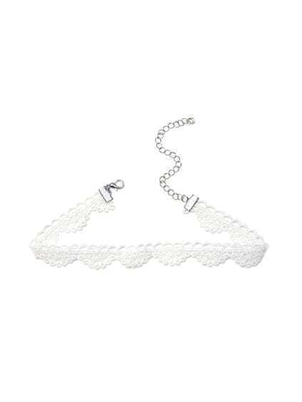 White Lace Scalloped Choker