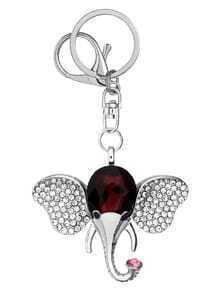 Silver Encrusted  Rhinestone Elephant Keychain