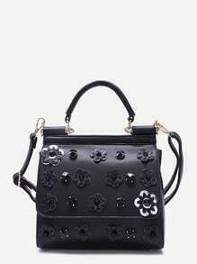 Black Flower And Rhinestone Embellished PU Handbag With Strap