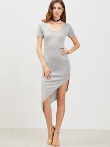Grey Low Back Short Sleeve Asymmetrical Dress