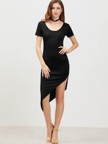 Black Low Back Short Sleeve Asymmetrical Dress