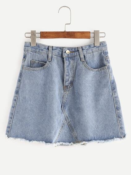 Blue Raw Hem Denim Skirt