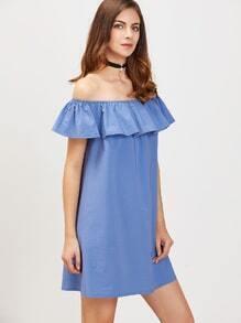 Blue Off The Shoulder Ruffle Tunic Dress
