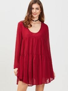 Vestido holgado de manga larga con cuello redondo - borgoña