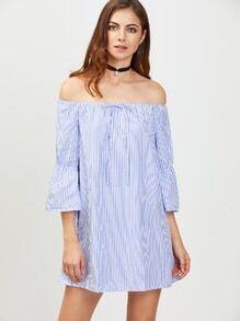 Blue Vertical Striped Off The Shoulder Tie Front Dress