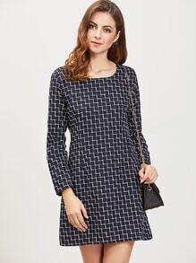 Navy Grid Zipper Back Long Sleeve Dress