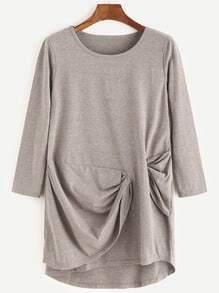 Khaki Long Sleeve Twist Drape T-shirt