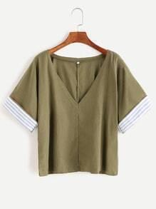 Army Green Striped Trim V Neck T-shirt