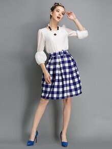Blue And White Plaid Self Tie Skirt