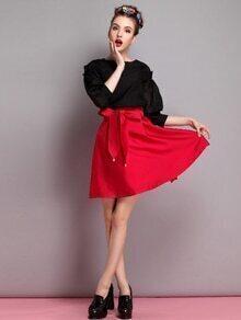 Falda con lazo en la parte delantera - rojo