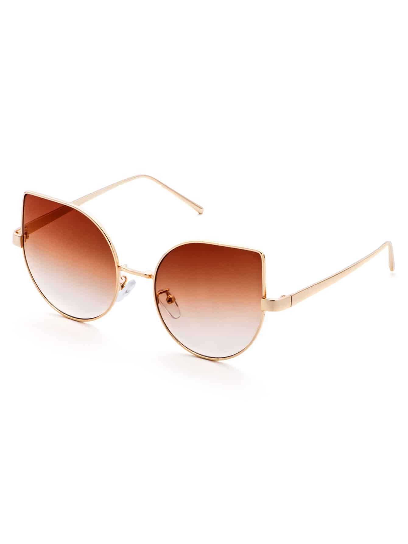 Gold Frame Cat Eye Sunglasses : Gold Frame Brown Cat Eye Sunglasses