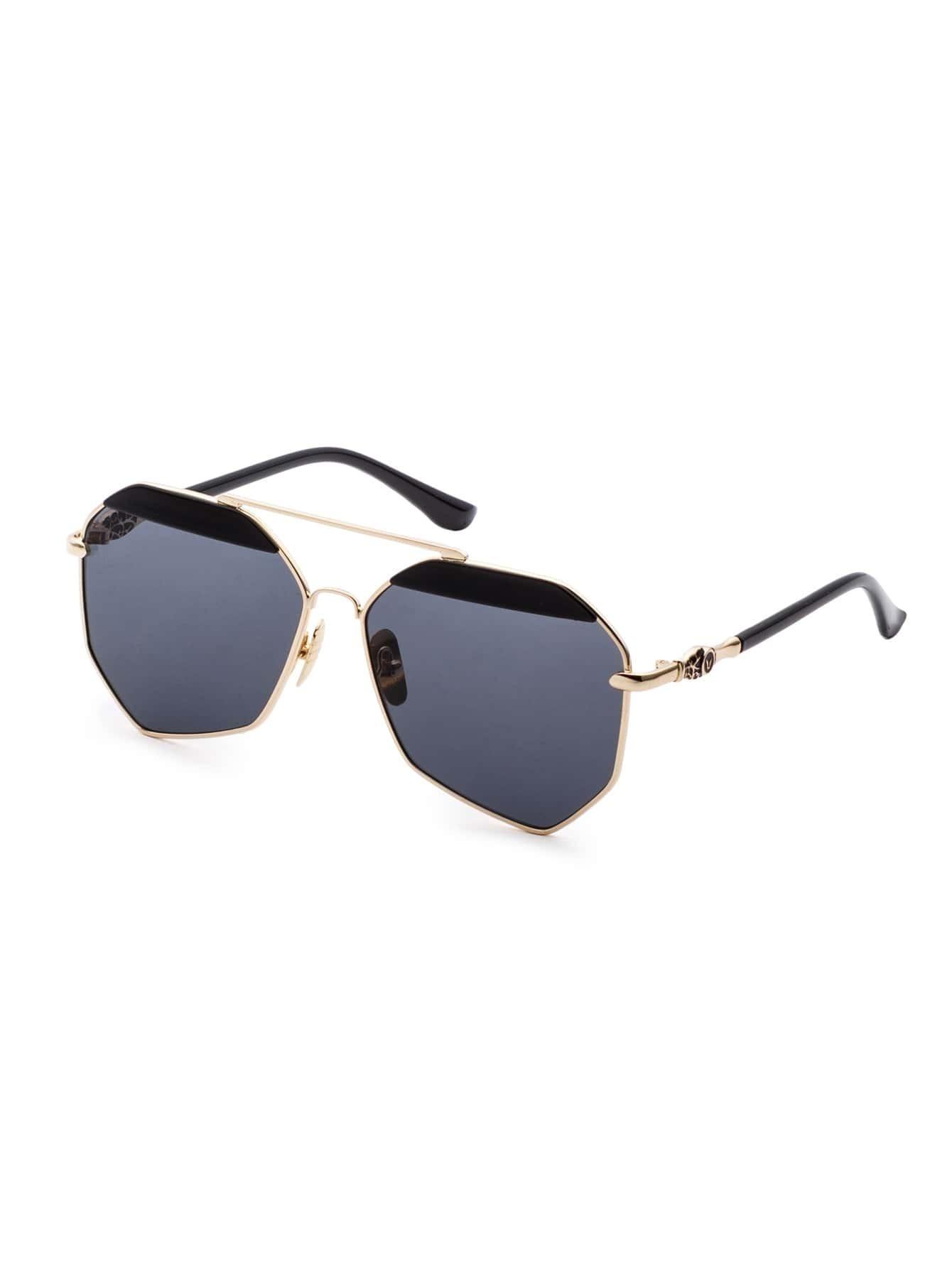 Golden Frame Black Sunglasses : Gold Frame Double Bridge Black Polygon Lens Sunglasses