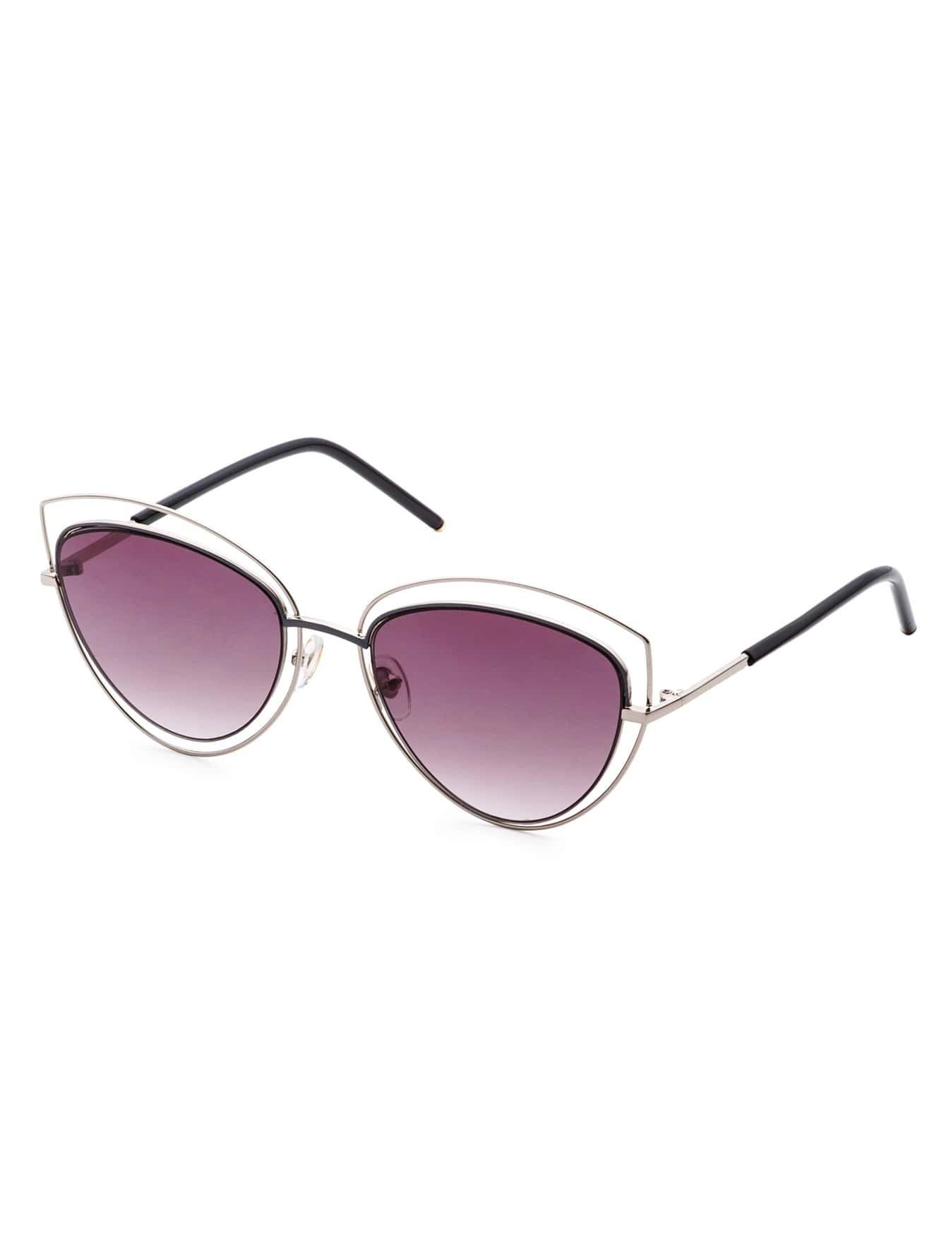 Silver Frame Purple Lens Cat Eye Sunglasses