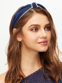 Navy Contrast Trim Knot Headband