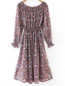 motifs floraux sur l'épaule robe multicolore