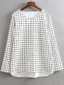White Grid Print Dip Hem Blouse