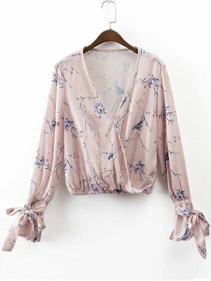 Light Pink Floral Print Wrap Blouse With Bow Tie