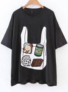 Black Graphic Embroidery Loose Tee