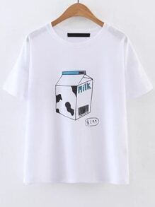 Buy White Graphic Print Short Sleeve Tee