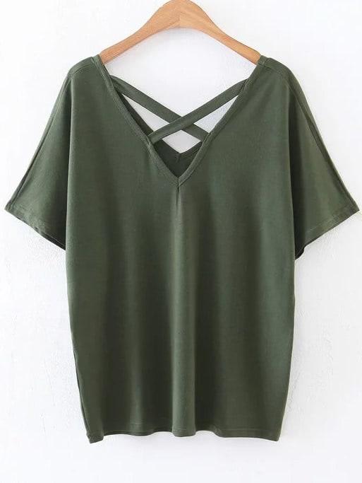 Army Green Criss Cross V Neck T-Shirt