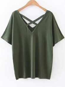 Army Green Criss Cross V Neck T-Shirt