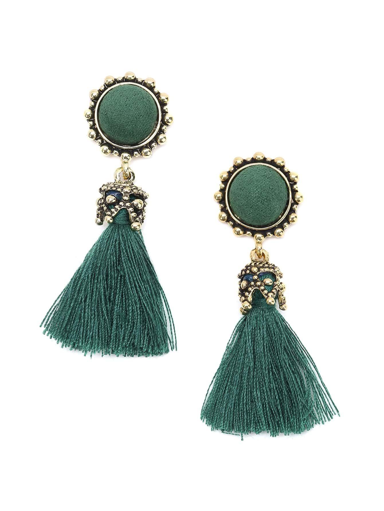 gold metal green tassel earrings