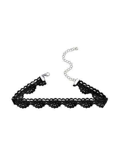 Black Hollow Out Choker Necklace