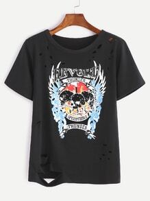 Black Printed Ripped T-shirt