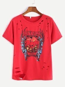 Dark Red Printed Ripped T-shirt