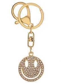 Or, strass, encrité, smiley, visage, keychain