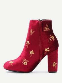 Burgundy Embroidery Detail Side Zipper Chunky Heel Boots