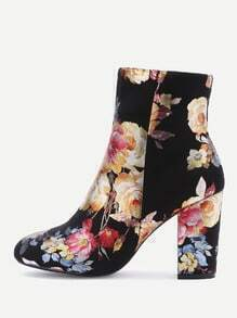Black Flower Print Suede Point Toe Chunky Boots
