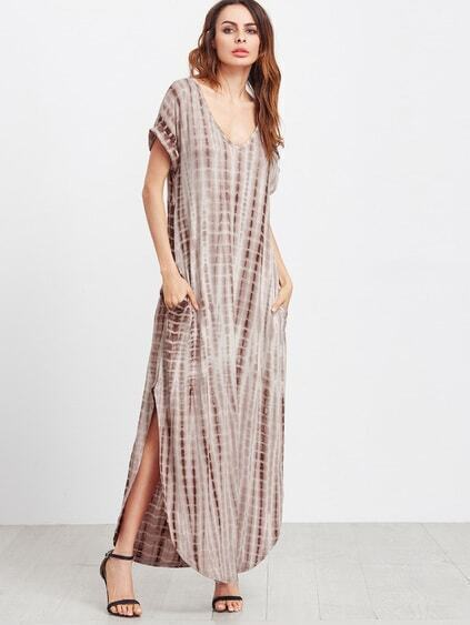 Coffee Tie Dye Print Split Curved Hem Maxi Dress